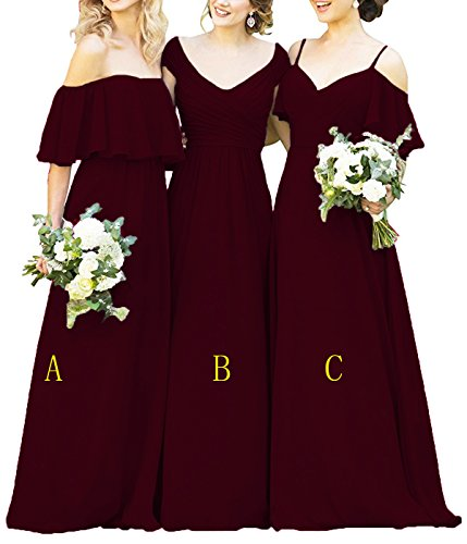 Women's Ruffles Chiffon Floor Length Bridesmaid Dresses Elegant Off Shoulder Wedding Evening Gowns Burgundy-a US6