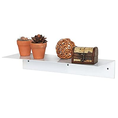 17 Inch Modern White Metal Floating Shelf/Wall-Mounted Display Stand/Hanging Organizer Rack - MyGift - A floating display shelf made of sturdy metal with a white finish. Easy to attach to any wall using appropriate mounting hardware (not included). Perfect for showing off picture frames, small potted plants, cherished keepsakes, and more. - wall-shelves, living-room-furniture, living-room - 41gTTs299pL. SS400  -