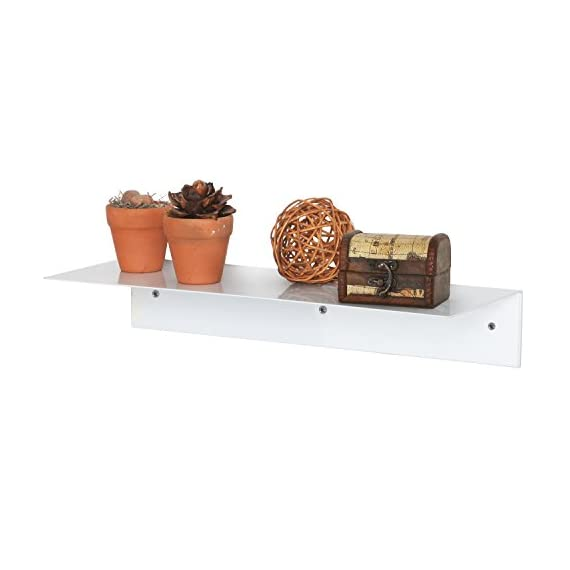MyGift 17 Inch Modern White Metal Floating Shelf/Wall-Mounted Display Stand/Hanging Organizer Rack - A floating display shelf made of sturdy metal with a white finish. Easy to attach to any wall using appropriate mounting hardware (not included). Perfect for showing off picture frames, small potted plants, cherished keepsakes, and more. - wall-shelves, living-room-furniture, living-room - 41gTTs299pL. SS570  -