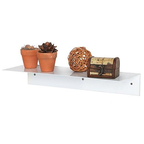 Single Display Shelf (17 Inch Modern White Metal Floating Shelf / Wall-Mounted Display Stand / Hanging Organizer Rack - MyGift)