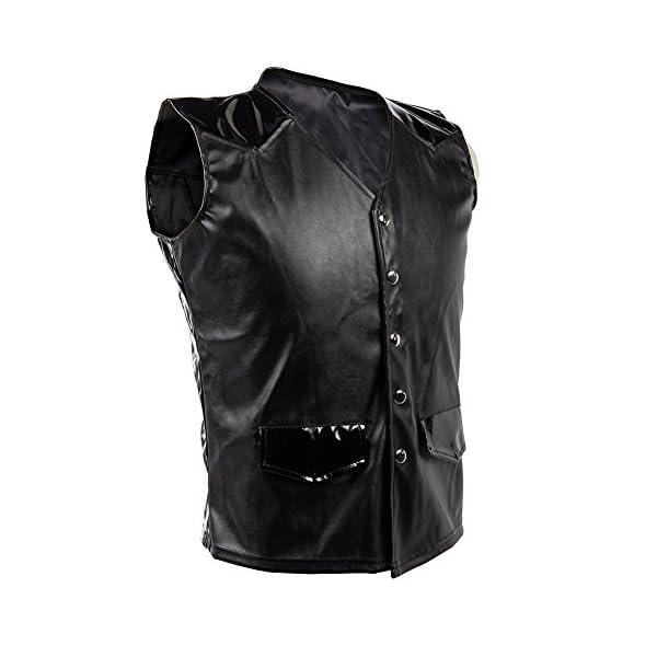 Bslingerie Mens Steampunk Faux Leather Cowboy Waist Coat Vest 5