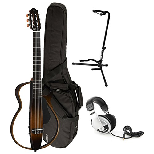 Yamaha SLG200N TBS Nylon Silent Guitar New Model w/ Gig Bag, Guitar Stand, and Headphones - Classical Yamaha Stand