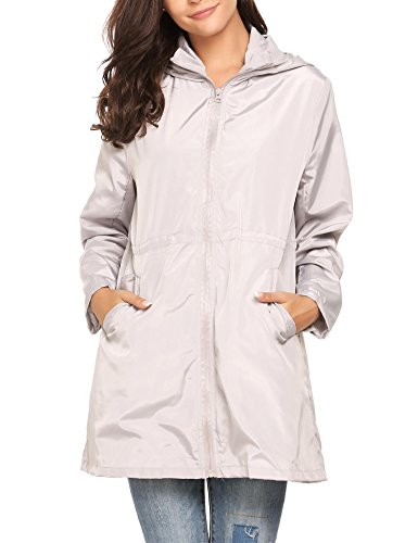 Dethler Women Raincoat Waterproof Windproof Lightweight Outdoor Jacket Zip-up Drawstring Hooded by Dethler (Image #2)