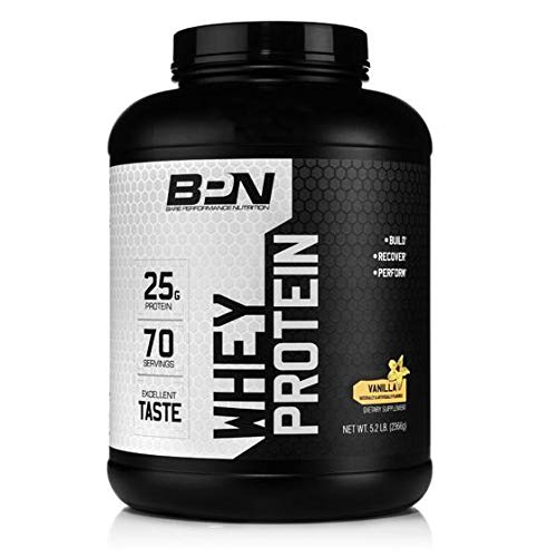 Bare Performance Nutrition, Whey Protein Powder, Meal Replacement, 25G of Protein, Excellent Taste & Low Carbohydrates, 88% Whey Protein & 12% Casein Protein (70 Servings, Vanilla)
