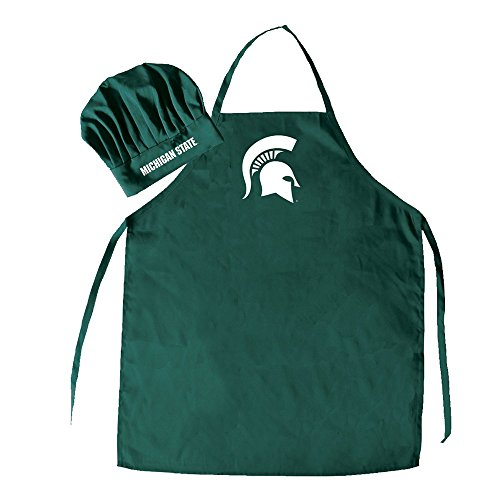 (Pro Specialties Group NCAA Michigan State Spartans Mens Chef Hat & Apron, Full Color Team Logo)