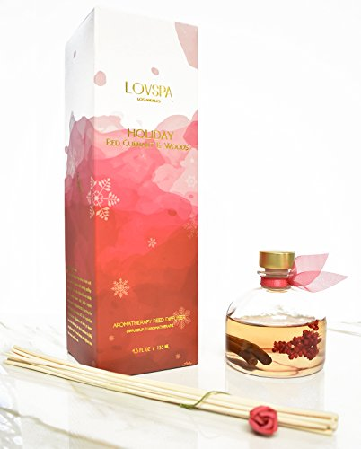 Cranberry & Woods Reed Diffuser Gift Set by LOVSPA | Red Currants, Pine, Cranberries, Cedarwood & Juniper | Great Fragrance any time of year! Made in the USA (Cranberry Reed Diffuser)