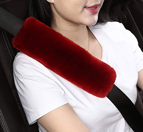 Covers Seat Belt Car (Dotesy 2pcs Auto Seatbelt Shoulder Pads,Soft Australian Sheepskin Wool Car Seat Belt Cover Backpack Strap Cushion for Adults Youth Baby Kids Car Truck SUV Airplane Travel(Red))