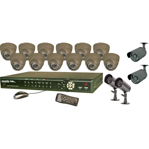 Security Labs 16-Channel Surveillance System with H.264 DVR and 12 CCD IR Turret Dome and 4 CCD IR Bullet Cameras (SLM444)