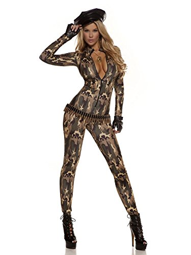 Forplay Women's Camo Print Zip Front Catsuit and Gloves, Olive, (Camo Halloween Costumes For Womens)