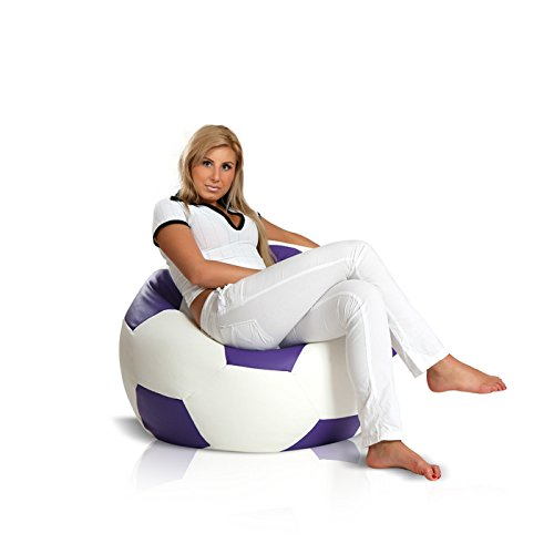 Turbo BeanBags Soccer Ball Style Bean Bag Chair, Medium, White/Violet