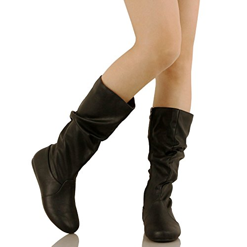 Guilty Schuhe Frauen Winter Leichte Mitte Kalb Kniehohe Komfortable Slouchy - Walking Flache Ferse Mode Stiefel Schwarz Pu