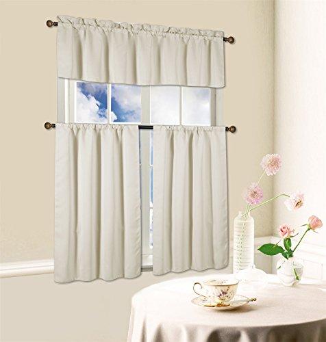Kashi Home 3 Piece Blackout Kitchen Curtain Set, Beth (Beige)