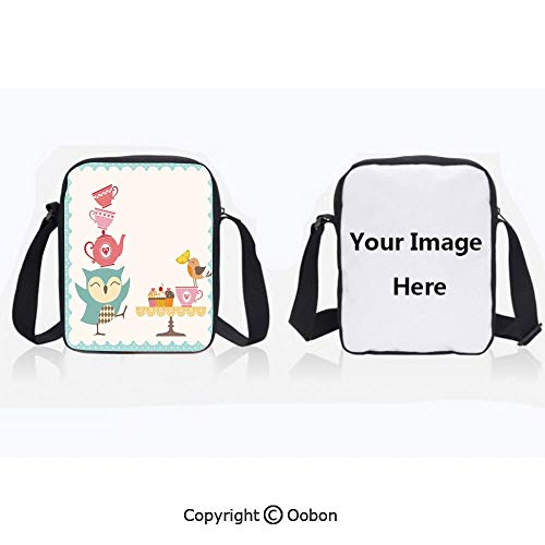 Multipurpose Crossbody Bag For Sports Unisex Teen Owl at Tea Party Bird with Lemon Cupcakes and Teacups Vintage Design Border Art White Blue Pink Anti-Theft Travel Hiking Polyester Water Proof Bag