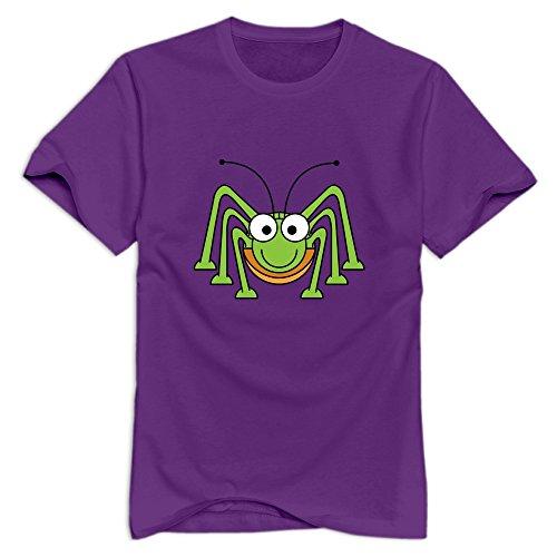 XFSHANG Men's Summer Short Sleeve Cute Green Spider T-Shirt Purple US Size XXL