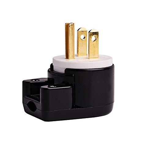 90 Degree USA Canada Male Plug Nema 5-15P 3 Pole Angle DIY Plug, 15A 125V USA 3Pin Right Angle AC Plug, Nema 5-15P Angled Rewireable AC Plug,12 Direction Male US 3Pole AC Connector, Black ()