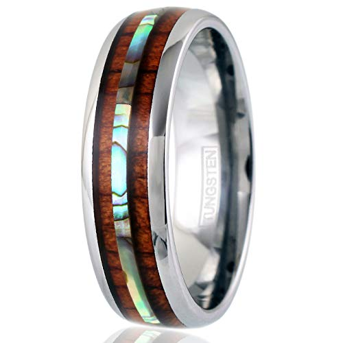 King's Cross Exquisite & Elegant 6mm/8mm Silver Tungsten Carbide Wedding Band w/Beautiful Koa Wood & Abalone Inlays (Tungsten (6mm), 8)