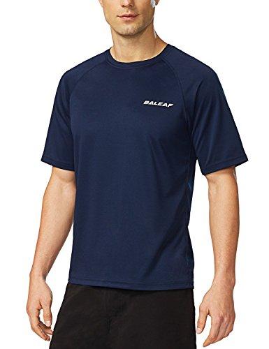 - Baleaf Men's Short Sleeve Solid Sun Protection Quick-Dry Rashguard Swim Shirt UPF 50+ Navy M