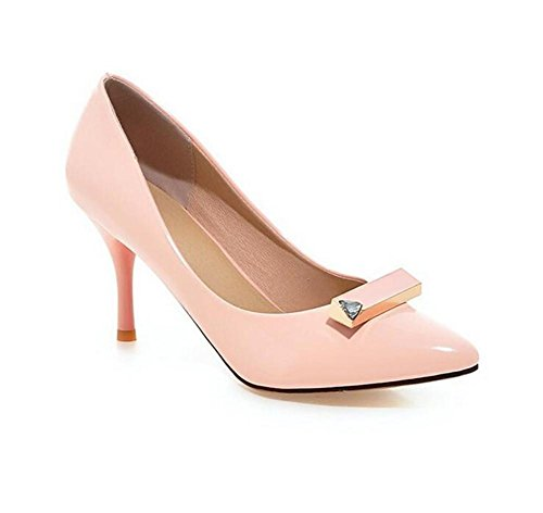 XIE Zapatos de Corte de Las Mujeres Finas con la Boca Baja Inclinada de la Boca Baja apuntó el Dedo del pie bajo para Ayudar a los Zapatos, Pink, 38 PINK-36