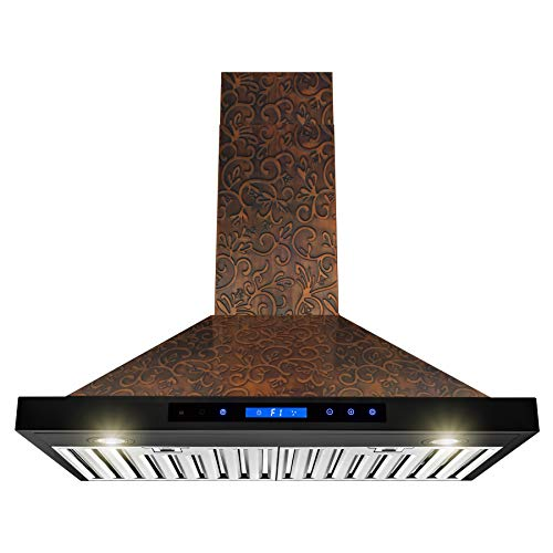 AKDY Wall Mount Range Hood -30″ Embossed Copper Hood Fan for Kitchen – 4-Speed Professional Quiet Motor – Premium Touch Control Panel – Elegant Vine Design – Baffle Filter & Halogen Lamp
