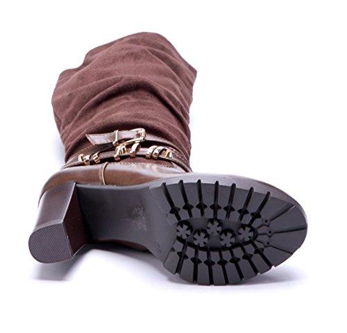 Schuhtempel24 Damen Schuhe Klassische Stiefel Stiefeletten Boots Blockabsatz Schnalle 8 cm Camel