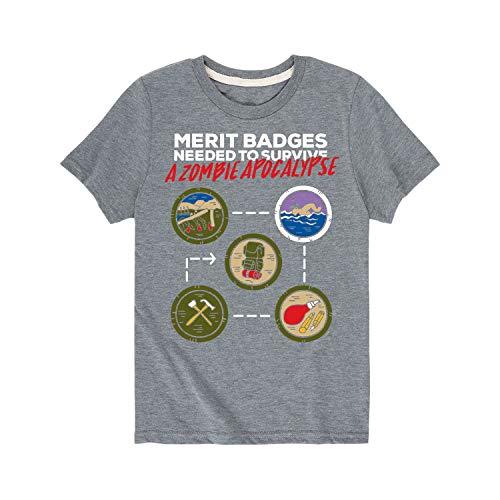 (Boy Scouts of America Zombie Apocalypse Merit Badges - Youth Short Sleeve Tee Athletic Heather)