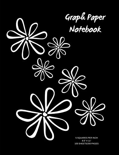 Graph Paper Notebook: Flower graph/grid paper notebook; 50 sheets/100 pages; 5 squares per incn