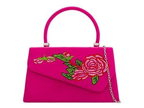 NEUF pochette pour 'S vintage DAMES DIVA floral détail main sac Fuchsia soirée daim à Small faux haute Rouge 6dqtB1wx6