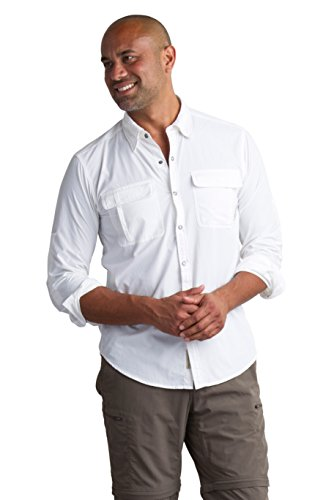 ExOfficio Men's BugsAway Halo Check Long Sleeve, White, Large