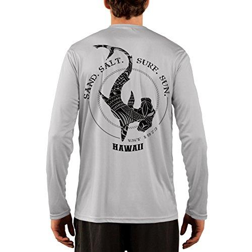 SAND.SALT.SURF.SUN. Hawaii Polynesian Hammerhead Tribal Men's UPF 50+ Long Sleeve T-Shirt XXX-Large Pearl Grey