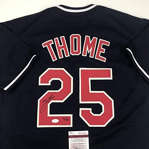 Autographed/Signed Jim Thome Cleveland Blue Baseball Jersey JSA COA ()