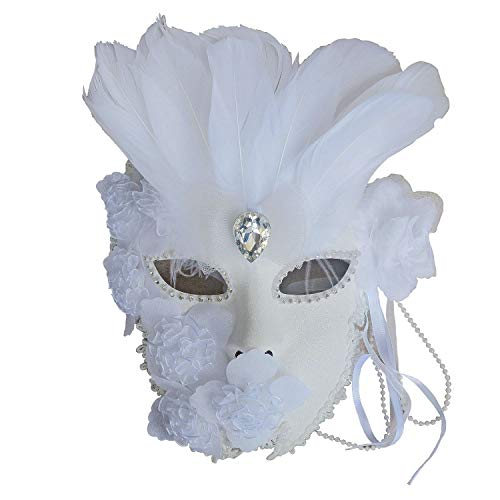 Flower Venetian Masquerade Full Face Lace Women Mask for Costume Mardi Gras,Wall Decorative Art (White w/Feather)