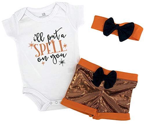 Unique Baby Girls Spell On You My 1st Halloween Layette Set Outfit (3m) Orange