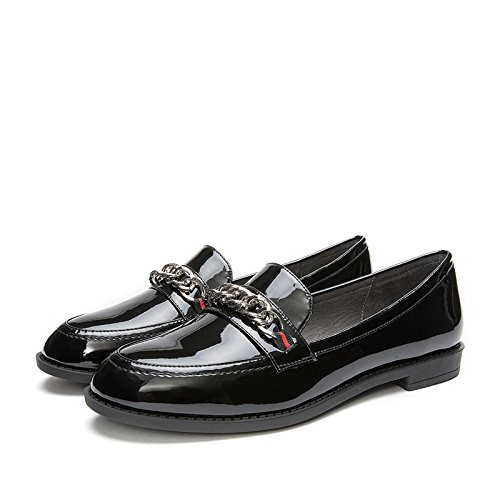 Zapatos Primavera 34 Planos De Cabeza Dhg White Señora Front Redonda Cute Deep negro Ribbon Sweet Beauty qCHxwxdE