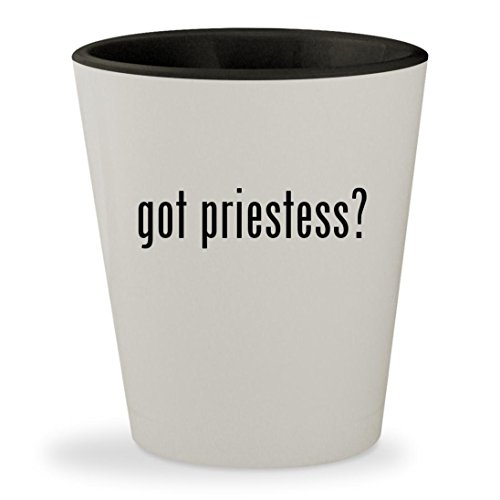 got priestess? - White Outer & Black Inner Ceramic 1.5oz Shot (Voodoo High Priestess Costume)