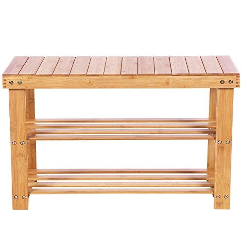 BEWISHOME Bamboo Shoe Bench Rack,2 Tier Shoe Shelf,Storage Organizing Rack Stand,Entryway Hallway Seat,Shoe Rack for Foyer,Kitchen,Living Room,Bathroom KXD01Y