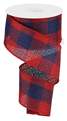 - Woven Check Wired Edge Ribbon - 10 Yards (Navy Blue, Red, 2.5