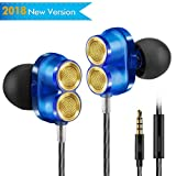In Ear Earbuds, Diivoo In-ear Headphones with Microphone Wired Earphones, Stereo Dual Driver Clear Sound Ear buds Earphone for Apple iPhone iPad Laptop Samsung Android, Blue  New Modes