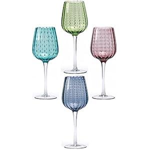Circleware White Rain Red-White Wine Glasses, Set of 4, 18 Ounce, Purple, Aqua, Blue, and Green