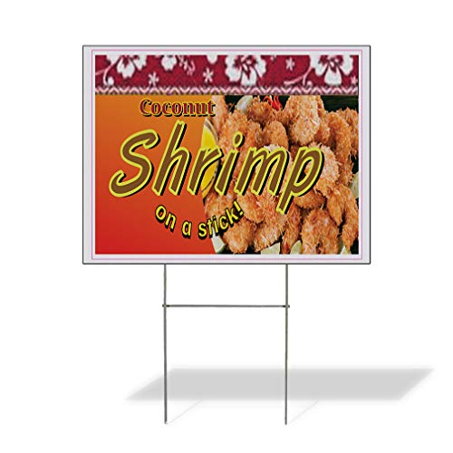 Plastic Weatherproof Yard Sign Coconut Shrimp Restaurant Cafe Bar Fried Shrimps Concessions Brown Coconut for Sale Sign Multiple Quantities Available 18inx12in One Side Print One Sign (Best Coconut Shrimp Restaurant)