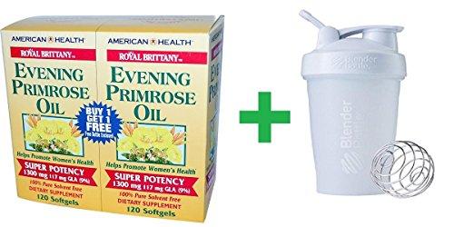 (American Health, Royal Brittany, Evening Primrose Oil, 1300 mg, 2 Bottles, 120 Softgels Each + Assorted Sundesa, BlenderBottle, Classic With Loop, 20 oz)