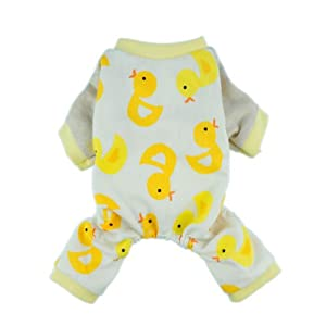Fitwarm Cute Duck Dog Pajamas Dog Clothes Dog Jumpsuit Pet Cat Pjs, Large