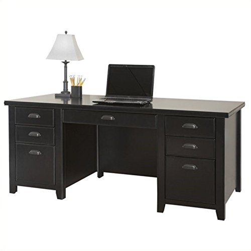 Double Full Pedestal Office Desk (Martin Furniture Tribeca Loft Double Pedestal Executive Desk, Black)