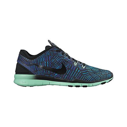 Nike Kvindernes Fri 5,0 St Passe Uddannelse Sko (trykt) Sort / Grøn Glød / Racer Blå / Metallisk Sølv 6