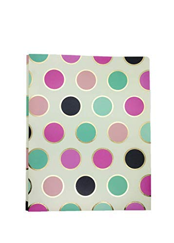 2-Pocket Plastic Folder with 3 Prong Harper Collection by Pink Light Design (Polka) ()