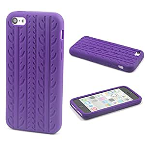 Purple Case for Apple iphone 5C Cute Tire Tread Style Soft Silicone Cover(Gift 2 PCS Sticker)
