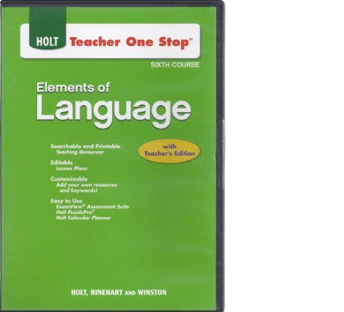 Teacher One Stop CD-ROM Sixth Course (Holt Elements of Language)