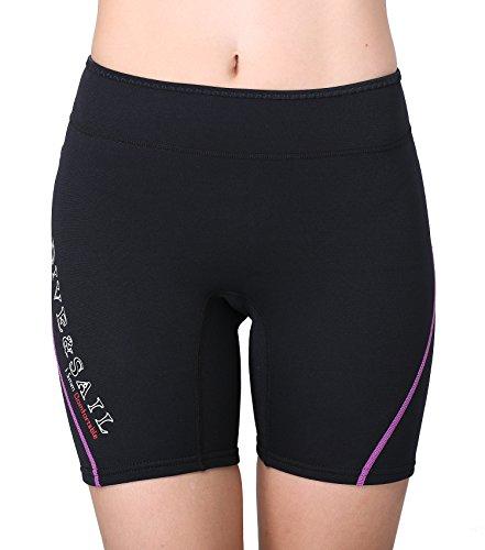 DIVE & SAIL Wetsuit Shorts 1.5mm Women Neoprene Pant Keep Warm for Kayak Dive Snorkeling Paddling (Purple & Black, - Shorts Ladies Wetsuit