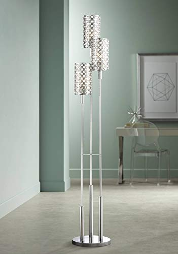 Modern Floor Lamp 3 Light Chrome Glitz Clear Crystal Bead Shade for Living Room Reading Bedroom Office Uplight - Possini Euro Design