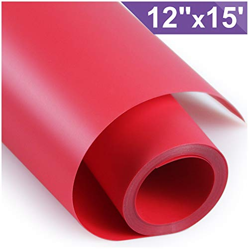 ARHIKY Heat Transfer Vinyl HTV for T-Shirts 12 Inches by 15 Feet Rolls(Red)