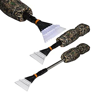2 Pack IIT Telescoping Car Window Ice Scrapers With Camo Hand Warmer Mitts Gloves LED Lights